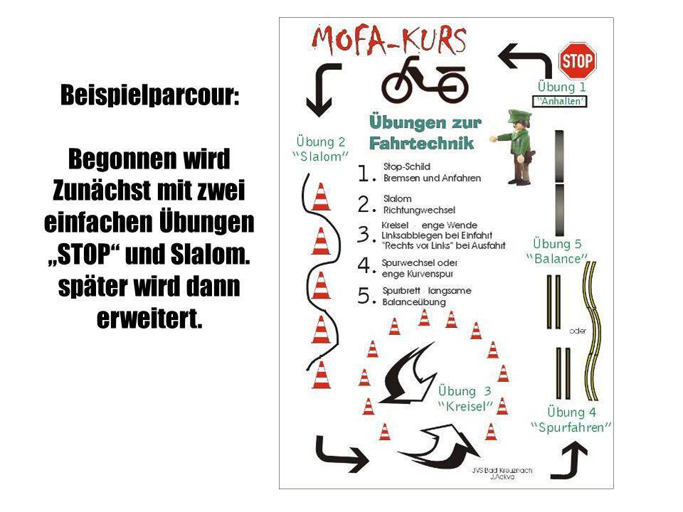 Beispielparcour: Begonnen wird Zunächst mit zwei einfachen Übungen STOP und Slalom. später wird dann erweitert.