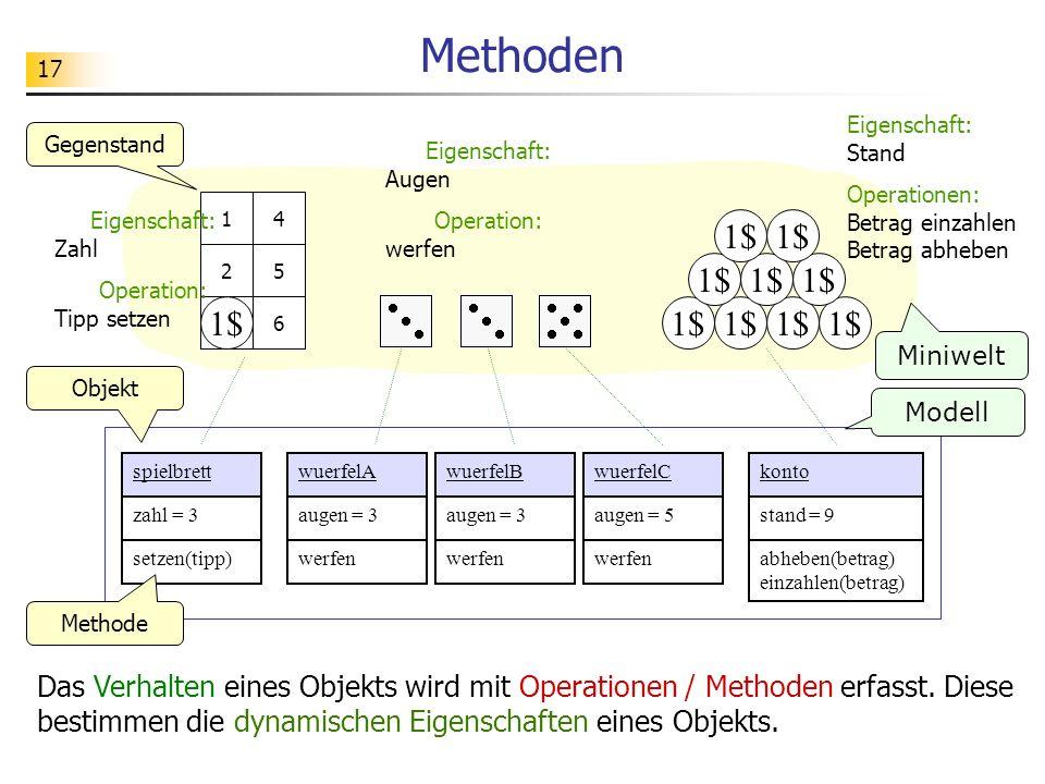 17 Methoden Das Verhalten eines Objekts wird mit Operationen / Methoden erfasst. Diese bestimmen die dynamischen Eigenschaften eines Objekts. 1$ 1 2 3