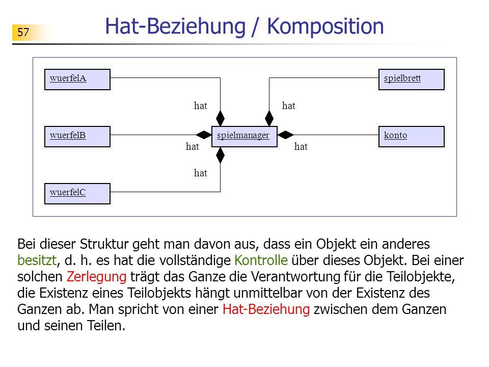 57 Hat-Beziehung / Komposition Bei dieser Struktur geht man davon aus, dass ein Objekt ein anderes besitzt, d. h. es hat die vollständige Kontrolle üb