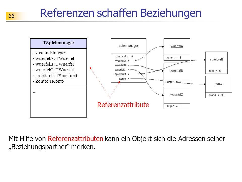 67 Modellklasse mit Referenzattributen unit uSpielmanager; interface uses uWuerfel, uKonto, uSpielbrett; type TSpielmanager = class(TObject) private zustand: integer; wuerfelA: TWuerfel; wuerfelB: Twuerfel; wuerfelC: TWuerfel; konto: TKonto; spielbrett: TSpielbrett; public constructor create; destructor destroy; override;...