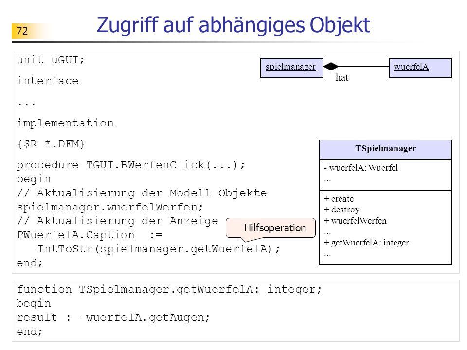 72 Zugriff auf abhängiges Objekt unit uGUI; interface... implementation {$R *.DFM} procedure TGUI.BWerfenClick(...); begin // Aktualisierung der Model