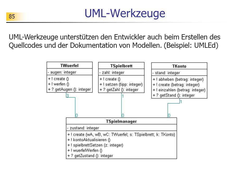 85 UML-Werkzeuge UML-Werkzeuge unterstützen den Entwickler auch beim Erstellen des Quellcodes und der Dokumentation von Modellen. (Beispiel: UMLEd)