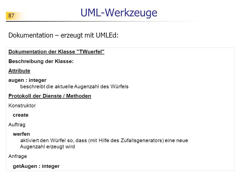 87 UML-Werkzeuge Dokumentation – erzeugt mit UMLEd: Dokumentation der Klasse