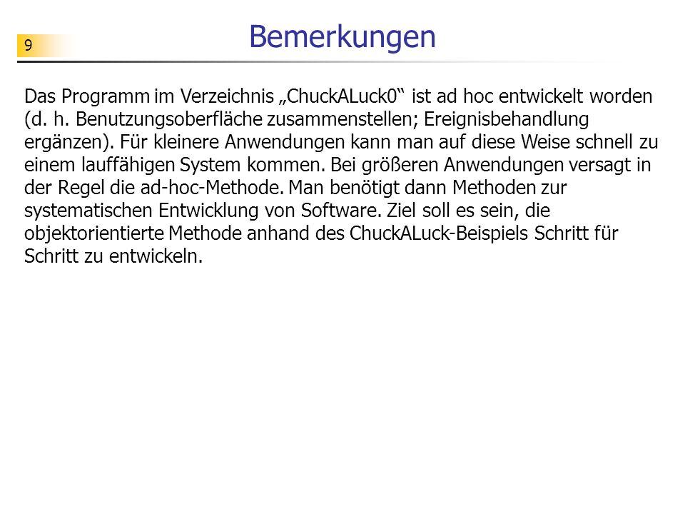 9 Bemerkungen Das Programm im Verzeichnis ChuckALuck0 ist ad hoc entwickelt worden (d. h. Benutzungsoberfläche zusammenstellen; Ereignisbehandlung erg
