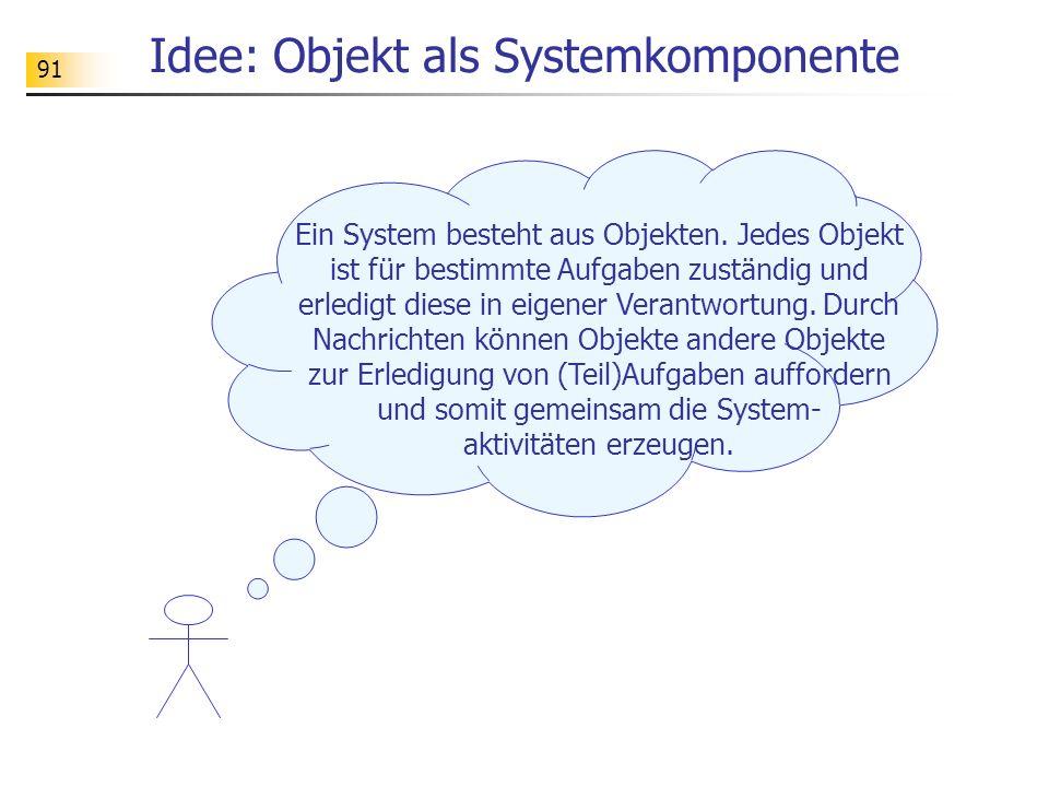91 Idee: Objekt als Systemkomponente Ein System besteht aus Objekten. Jedes Objekt ist für bestimmte Aufgaben zuständig und erledigt diese in eigener