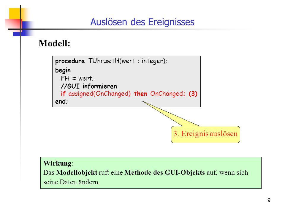 9 procedure TUhr.setH(wert : integer); begin FH := wert; //GUI informieren if assigned(OnChanged) then OnChanged; (3) end; Wirkung: Das Modellobjekt ruft eine Methode des GUI-Objekts auf, wenn sich seine Daten ändern.