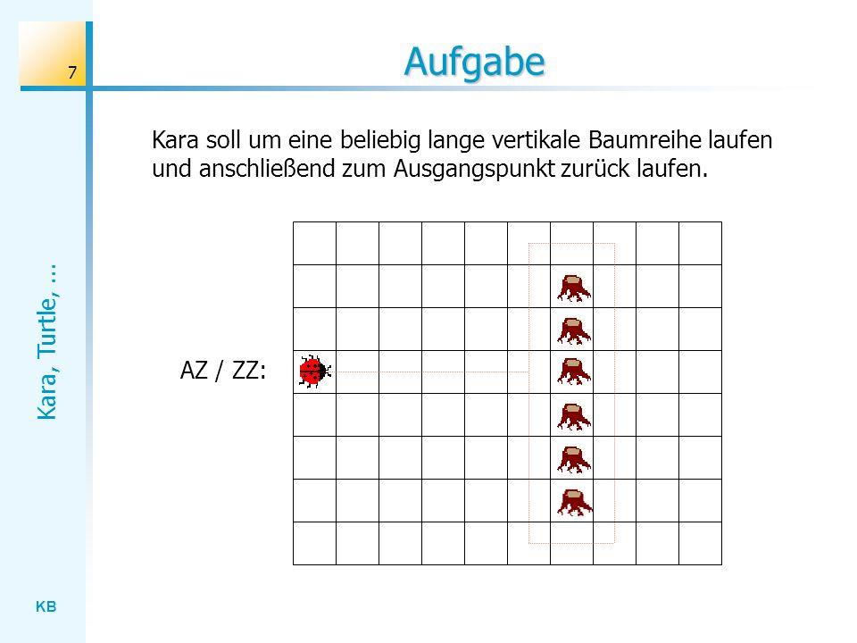 KB Kara, Turtle,... 7 Aufgabe AZ / ZZ: Kara soll um eine beliebig lange vertikale Baumreihe laufen und anschließend zum Ausgangspunkt zurück laufen.