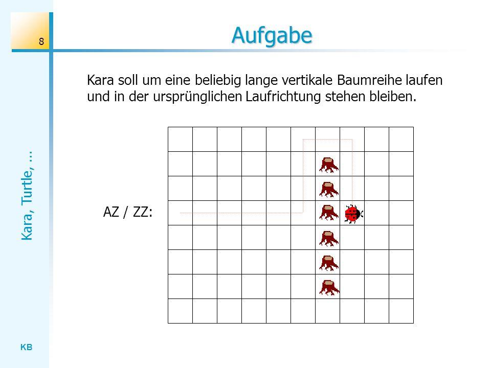 KB Kara, Turtle,... 8 Aufgabe AZ / ZZ: Kara soll um eine beliebig lange vertikale Baumreihe laufen und in der ursprünglichen Laufrichtung stehen bleib