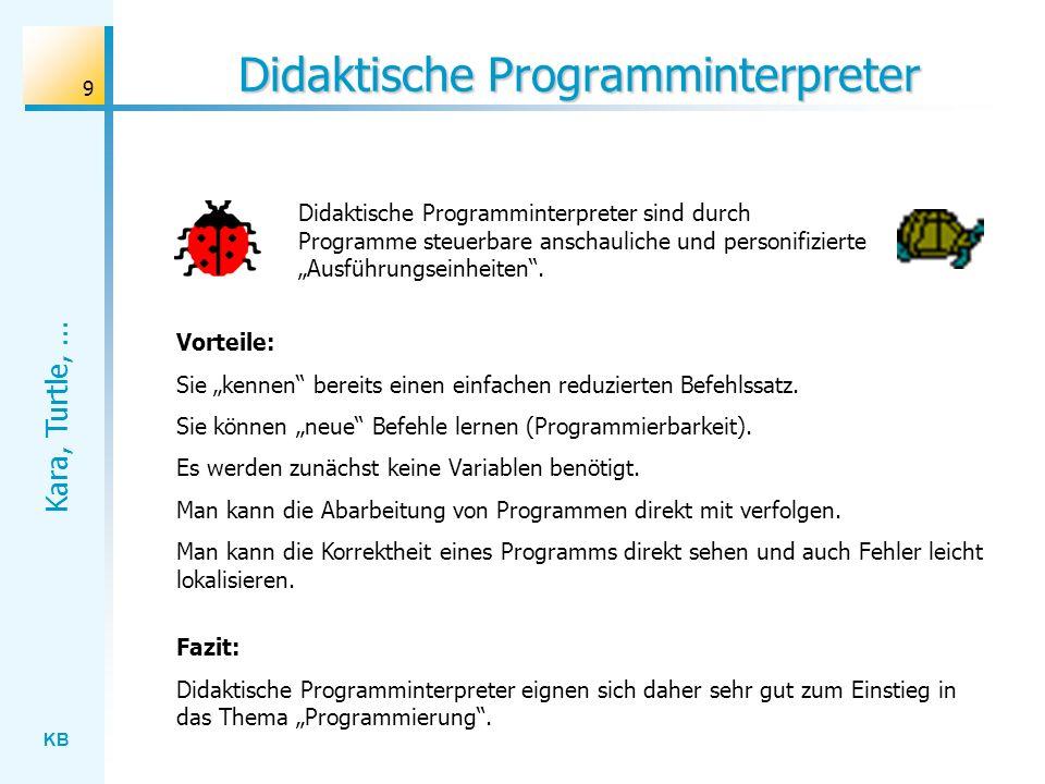 KB Kara, Turtle,... 9 Didaktische Programminterpreter Didaktische Programminterpreter sind durch Programme steuerbare anschauliche und personifizierte