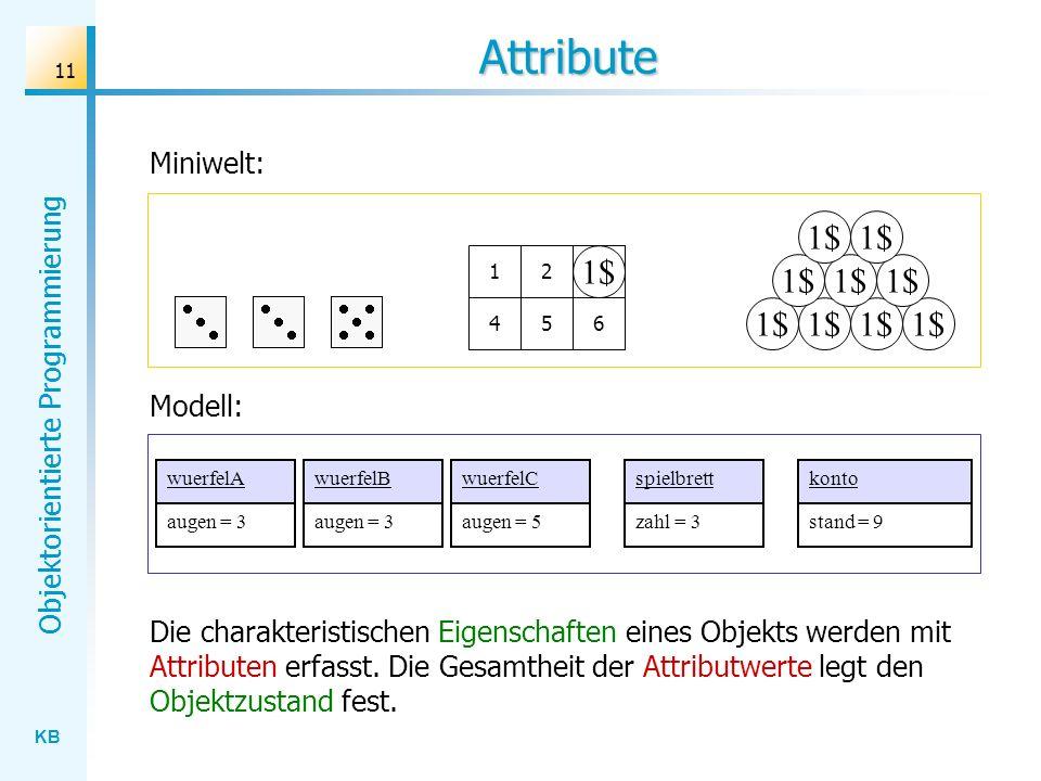 KB Objektorientierte Programmierung 11 Attribute Miniwelt: 1$ 123 456 3 wuerfelAwuerfelBwuerfelC Modell: spielbrettkonto Die charakteristischen Eigenschaften eines Objekts werden mit Attributen erfasst.