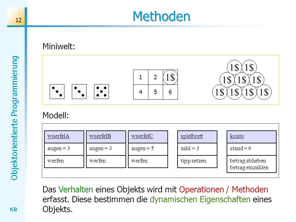 KB Objektorientierte Programmierung 12 Methoden Miniwelt: 1$ 123 456 3 wuerfelAwuerfelBwuerfelC Modell: spielbrettkonto Das Verhalten eines Objekts wird mit Operationen / Methoden erfasst.