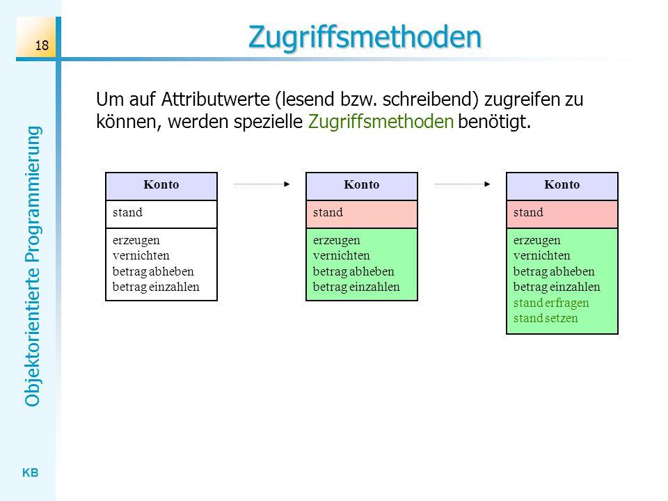 KB Objektorientierte Programmierung 18 Zugriffsmethoden Um auf Attributwerte (lesend bzw. schreibend) zugreifen zu können, werden spezielle Zugriffsme