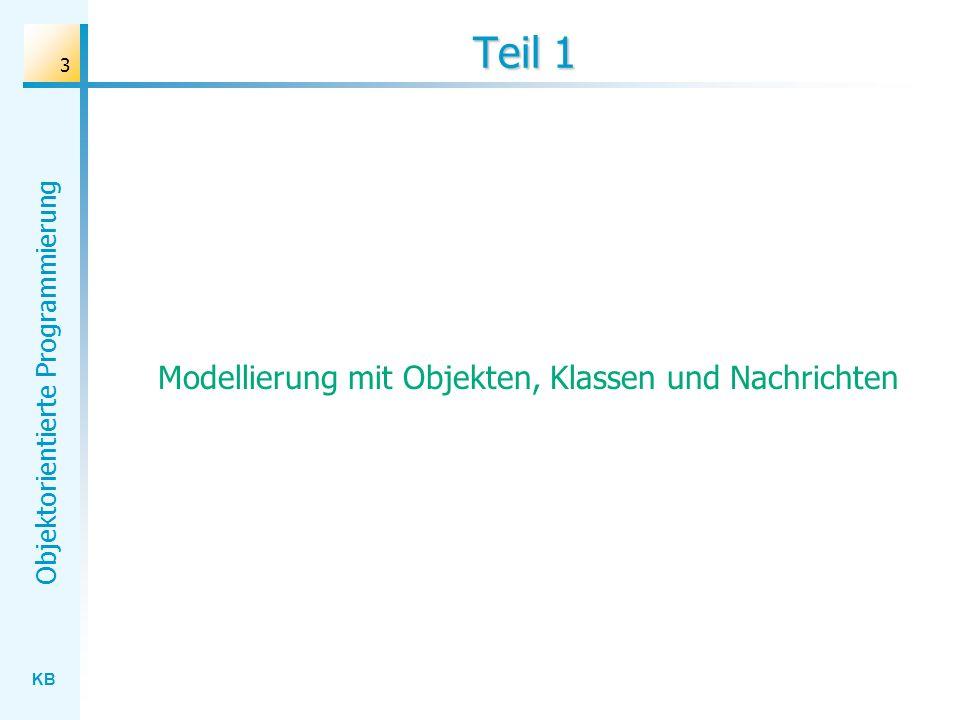 KB Objektorientierte Programmierung 3 Teil 1 Modellierung mit Objekten, Klassen und Nachrichten