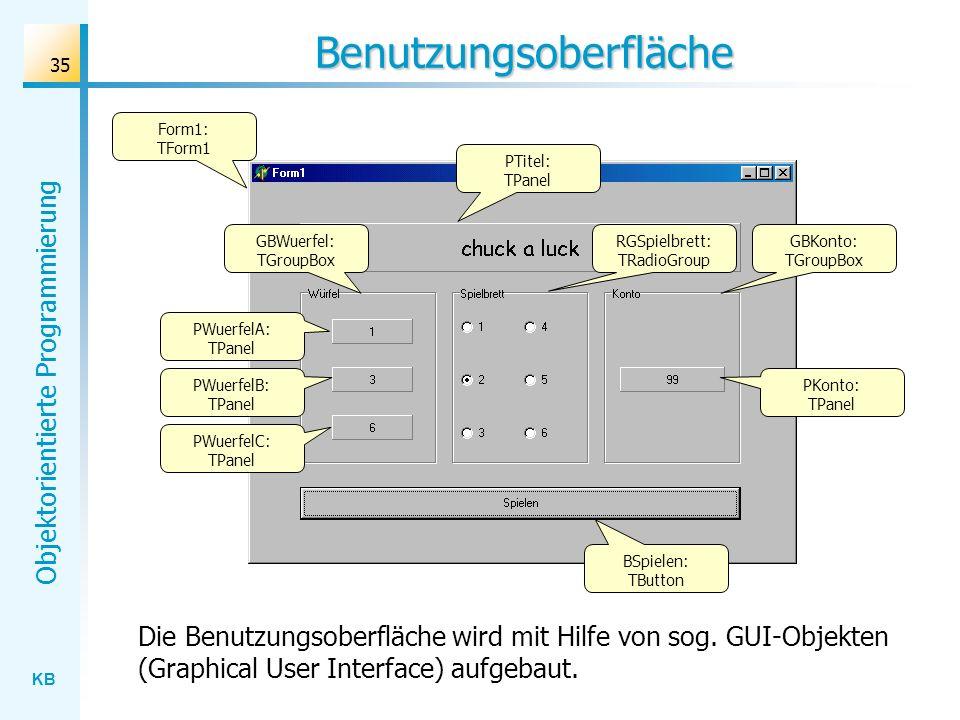 KB Objektorientierte Programmierung 35 Benutzungsoberfläche PTitel: TPanel RGSpielbrett: TRadioGroup GBWuerfel: TGroupBox GBKonto: TGroupBox PWuerfelC: TPanel PKonto: TPanel BSpielen: TButton PWuerfelA: TPanel PWuerfelB: TPanel Form1: TForm1 Die Benutzungsoberfläche wird mit Hilfe von sog.