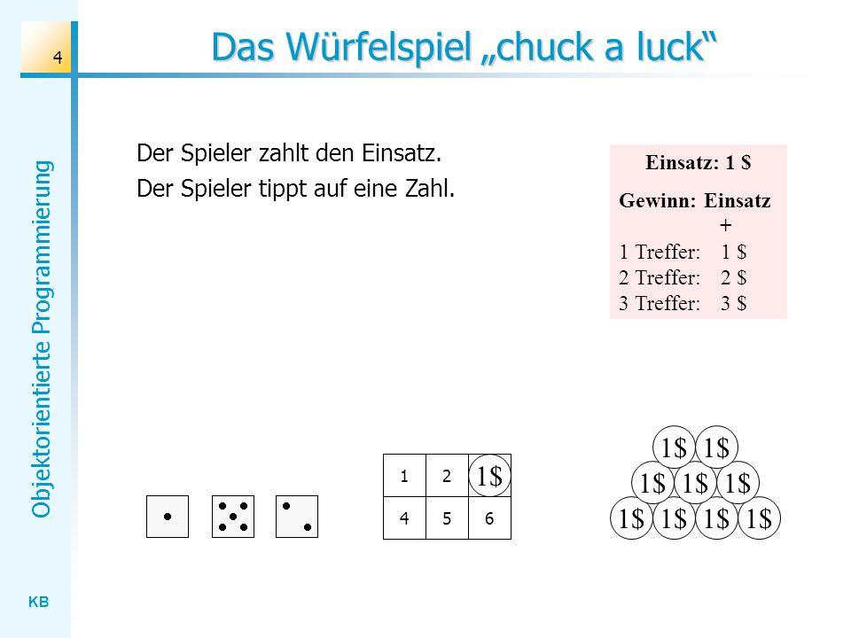 KB Objektorientierte Programmierung 4 3 Das Würfelspiel chuck a luck 1$ 12 456 Der Spieler zahlt den Einsatz. Der Spieler tippt auf eine Zahl. Einsatz