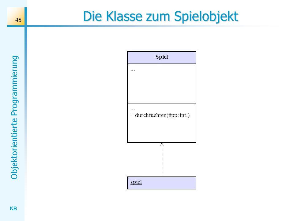 KB Objektorientierte Programmierung 45 Die Klasse zum Spielobjekt Spiel... + durchfuehren(tipp: int.) spiel