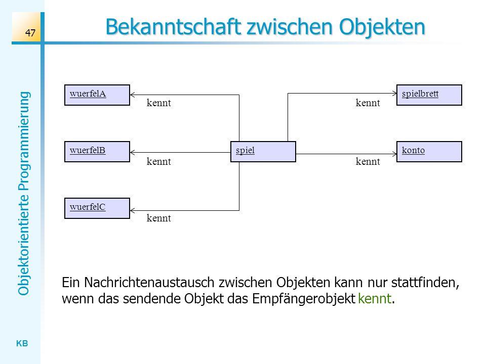 KB Objektorientierte Programmierung 47 Bekanntschaft zwischen Objekten Ein Nachrichtenaustausch zwischen Objekten kann nur stattfinden, wenn das sende