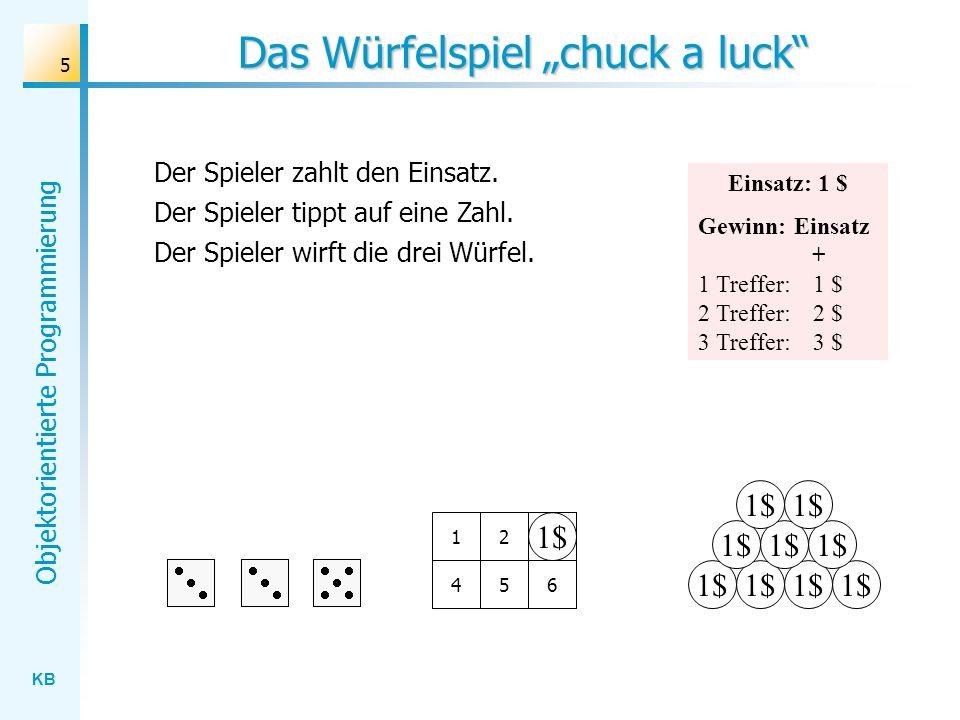 KB Objektorientierte Programmierung 5 Das Würfelspiel chuck a luck 1$ 123 456 Der Spieler zahlt den Einsatz. Der Spieler tippt auf eine Zahl. Der Spie