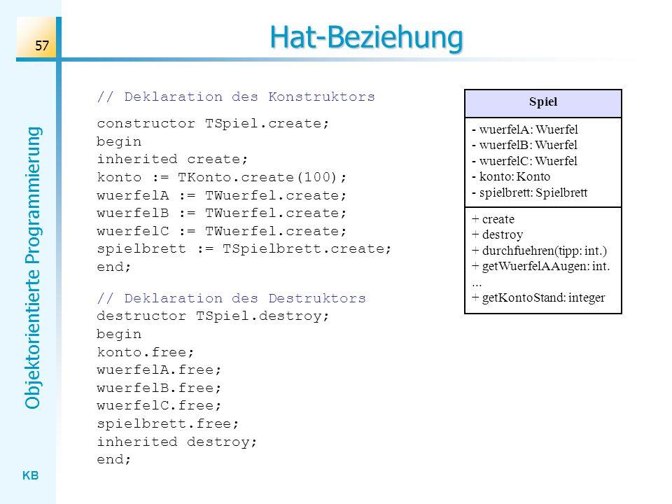 KB Objektorientierte Programmierung 57 Hat-Beziehung // Deklaration des Konstruktors constructor TSpiel.create; begin inherited create; konto := TKonto.create(100); wuerfelA := TWuerfel.create; wuerfelB := TWuerfel.create; wuerfelC := TWuerfel.create; spielbrett := TSpielbrett.create; end; Spiel - wuerfelA: Wuerfel - wuerfelB: Wuerfel - wuerfelC: Wuerfel - konto: Konto - spielbrett: Spielbrett + create + destroy + durchfuehren(tipp: int.) + getWuerfelAAugen: int....