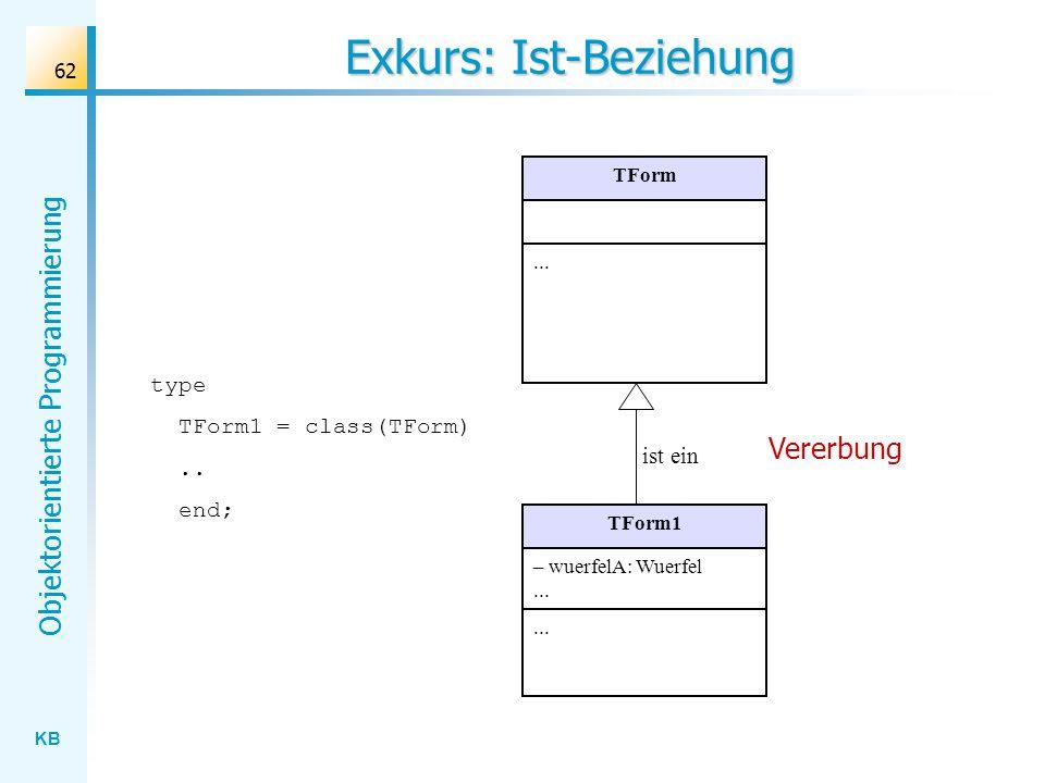 KB Objektorientierte Programmierung 62 Exkurs: Ist-Beziehung TForm... TForm1 – wuerfelA: Wuerfel... ist ein Vererbung type TForm1 = class(TForm).. end