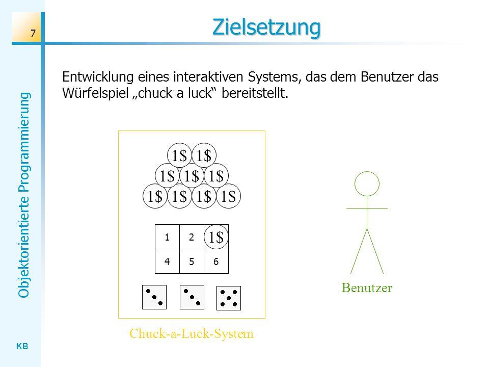 KB Objektorientierte Programmierung 7 Zielsetzung Entwicklung eines interaktiven Systems, das dem Benutzer das Würfelspiel chuck a luck bereitstellt.