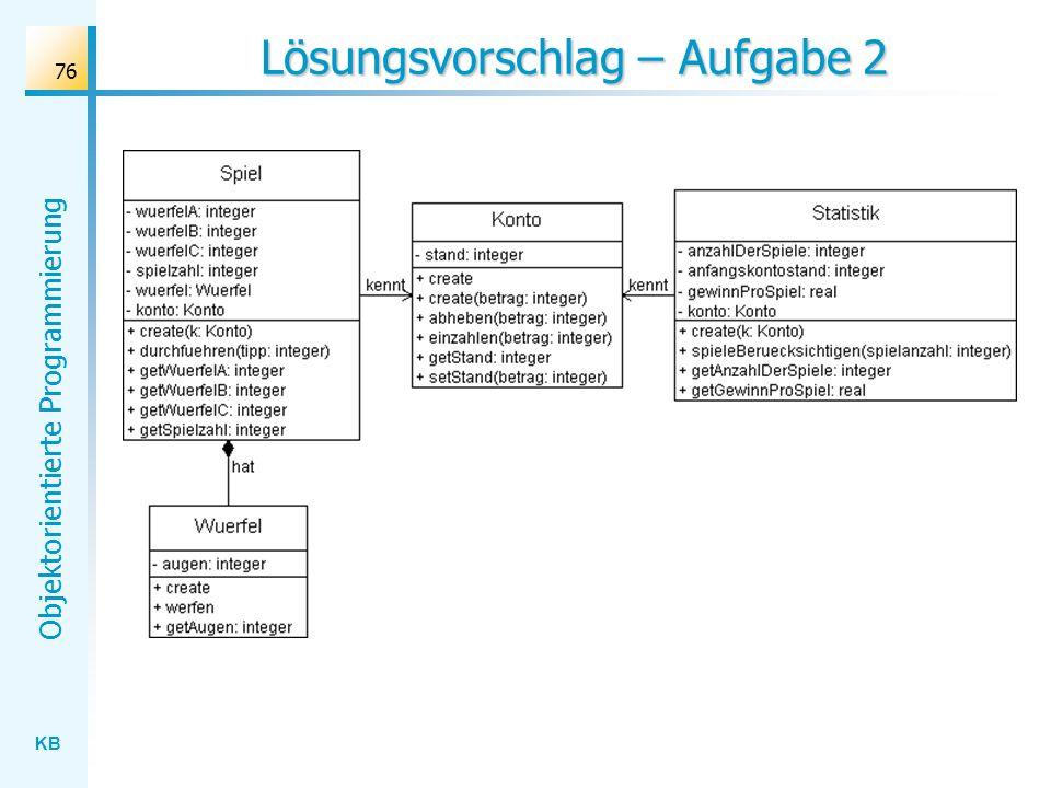 KB Objektorientierte Programmierung 76 Lösungsvorschlag – Aufgabe 2