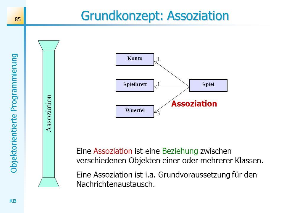 KB Objektorientierte Programmierung 85 Grundkonzept: Assoziation Assoziation Eine Assoziation ist eine Beziehung zwischen verschiedenen Objekten einer oder mehrerer Klassen.