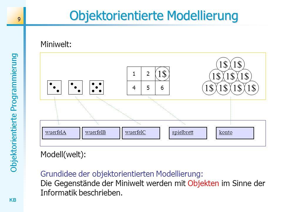 KB Objektorientierte Programmierung 9 Objektorientierte Modellierung Miniwelt: 1$ 123 456 3 Grundidee der objektorientierten Modellierung: Die Gegenst