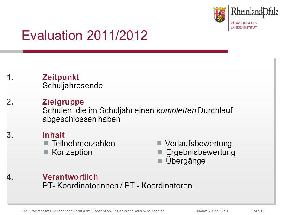Folie 15Der Praxistag im Bildungsgang Berufsreife: Konzeptionelle und organisatorische AspekteMainz: 23. 11 2010 Evaluation 2011/2012 1.Zeitpunkt Schu