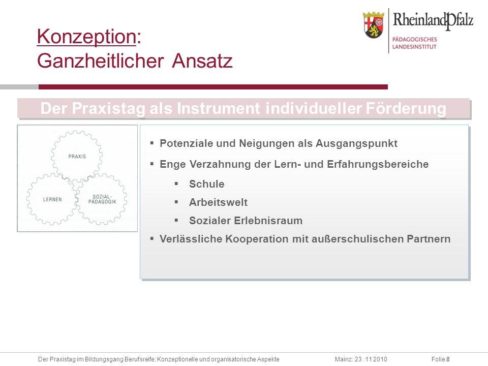 Folie 8Der Praxistag im Bildungsgang Berufsreife: Konzeptionelle und organisatorische AspekteMainz: 23. 11 2010 Konzeption: Ganzheitlicher Ansatz Pote