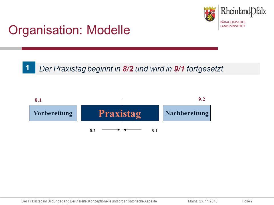 Folie 9Der Praxistag im Bildungsgang Berufsreife: Konzeptionelle und organisatorische AspekteMainz: 23. 11 2010 8.2 9.1 Organisation: Modelle Vorberei