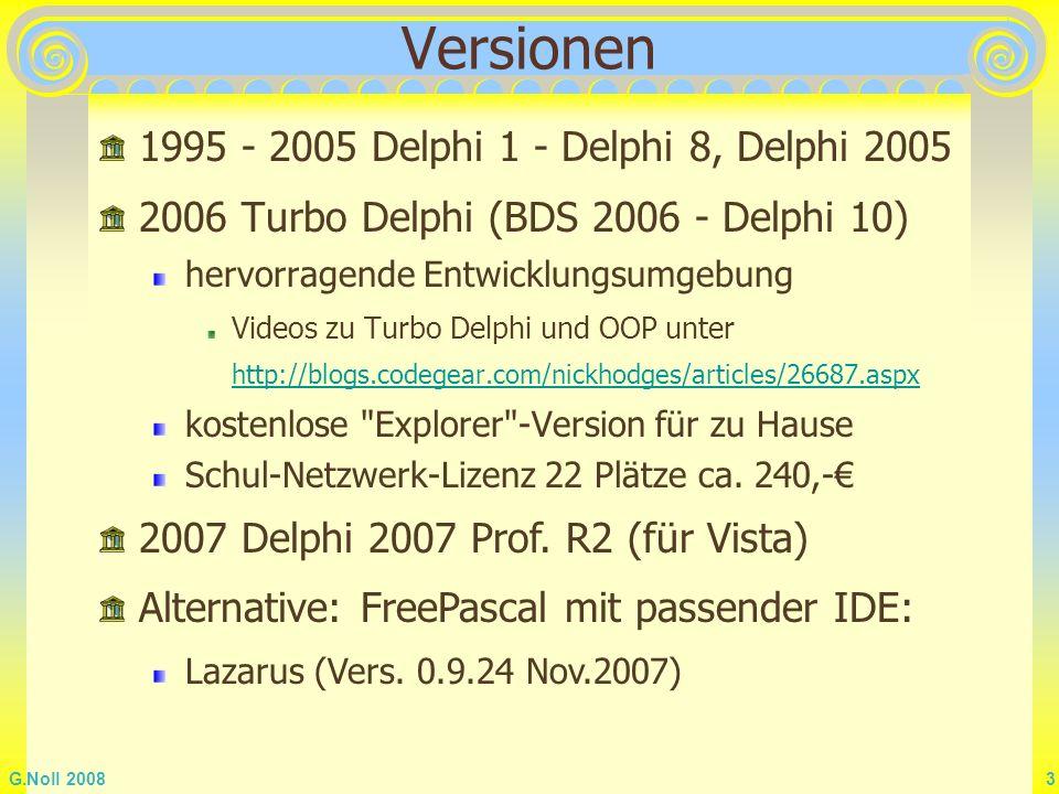 G.Noll 2008 54 Stringliste: Ausgabe Listbox Komponente (Klasse TListbox) Ausgabe einer Liste von Strings mit der Möglich- keit zum Auswählen, Löschen, Hinzufügen zentrale Eigenschaften/Methoden Items ( Stringliste)ListBox1.Items.Add( Speyer ); Es sind alle Eigenschaften und Methoden der Stringliste möglich ItemIndexNr.
