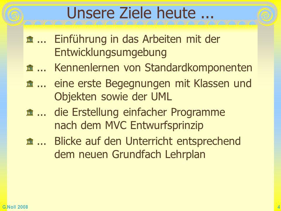 G.Noll 2008 35 Initialisierungen Für das Wachstumsprogramm wäre es angenehm, wenn beim Programmstart die Daten von 2006 bereits im Formular eingetragen wären Für solche Initialisierungen wird üblicherweise eine Ereignisbehandlungsroutine benutzt, die automatisch beim Erzeugen des Fensters aufgerufen wird: procedure TForm1.FormCreate(Sender: TObject); begin EJahr.Text:= 2006 ; EPopulation.Text:= 6,6 ; EWFaktor.Text:= 1,2 end; Das Prozedurgerüst von FormCreate wird bei einem Doppelklick auf das Formular angelegt