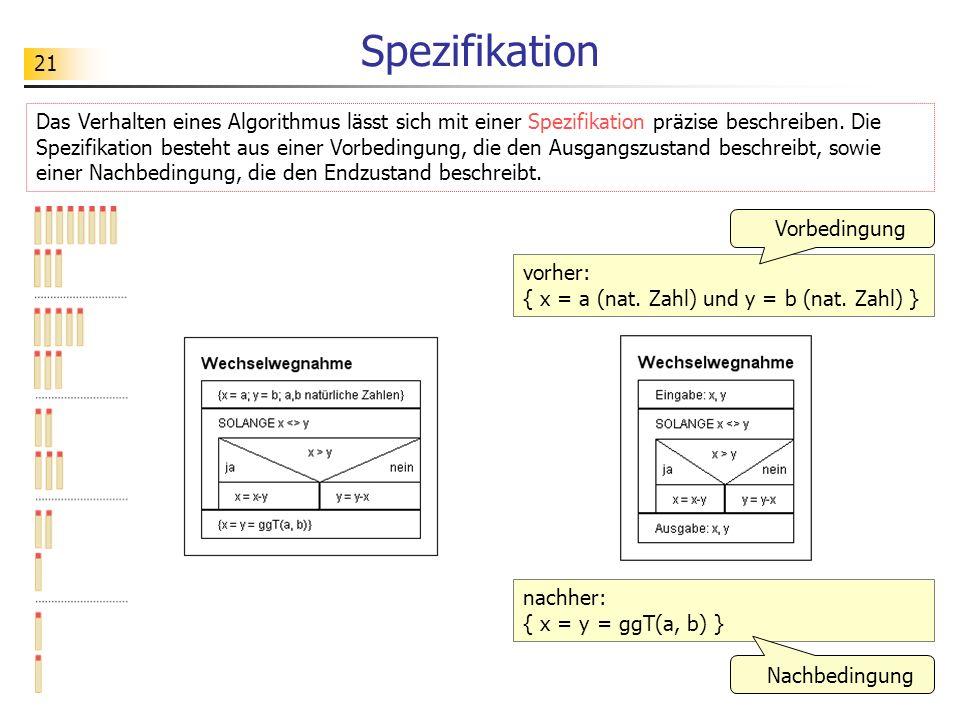 21 Spezifikation Das Verhalten eines Algorithmus lässt sich mit einer Spezifikation präzise beschreiben. Die Spezifikation besteht aus einer Vorbeding