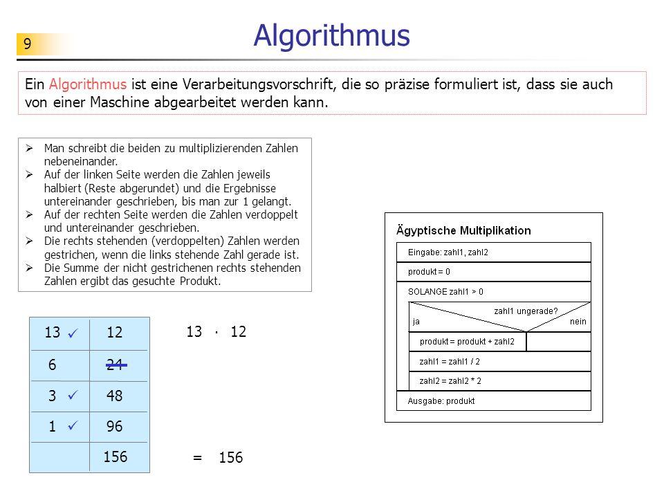 9 Algorithmus Ein Algorithmus ist eine Verarbeitungsvorschrift, die so präzise formuliert ist, dass sie auch von einer Maschine abgearbeitet werden ka