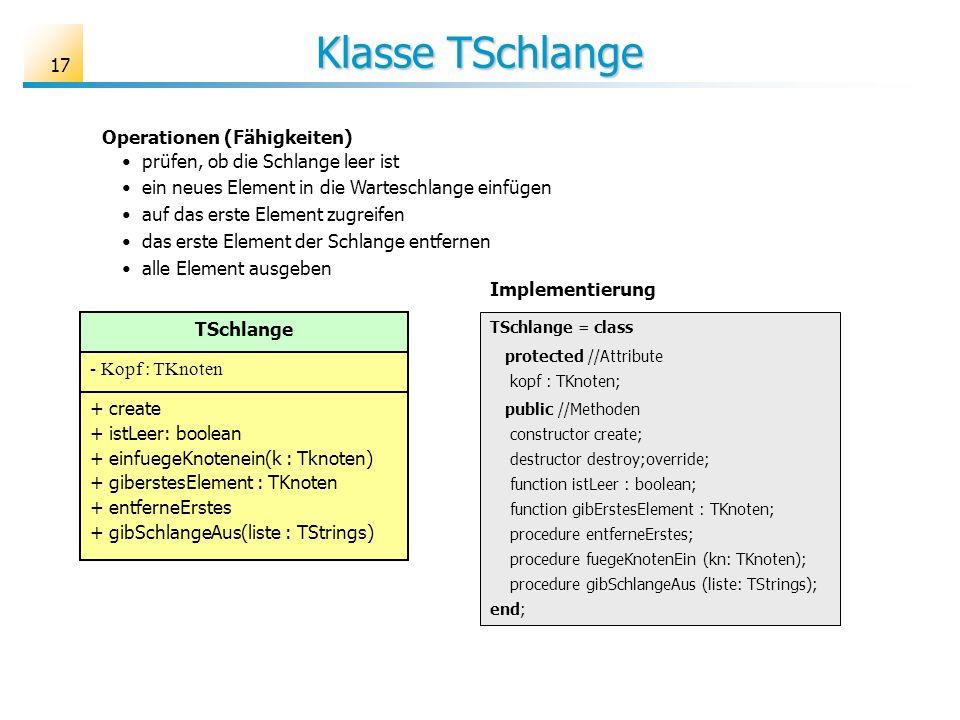 17 Klasse TSchlange TSchlange - Kopf : TKnoten + create + istLeer: boolean + einfuegeKnotenein(k : Tknoten) + giberstesElement : TKnoten + entferneErs