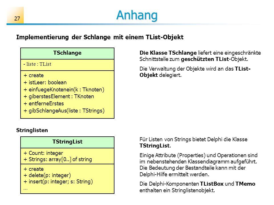 27 Anhang Implementierung der Schlange mit einem TList-Objekt TSchlange - liste : TList + create + istLeer: boolean + einfuegeKnotenein(k : Tknoten) +
