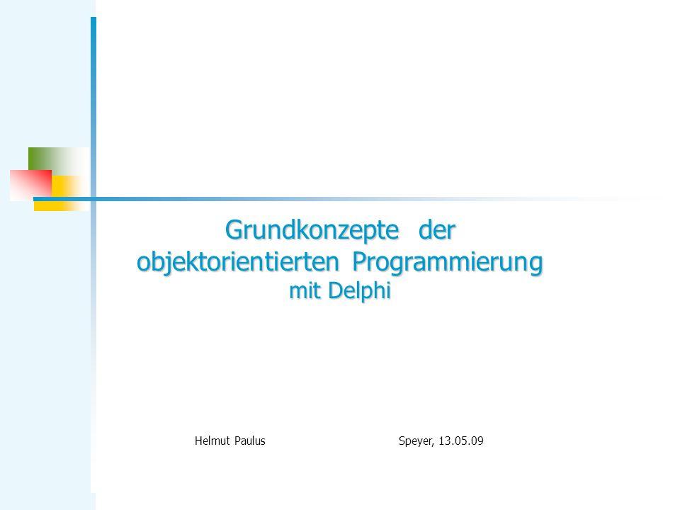 TModuloZaehler 12 TModuloZaehler = class private max: integer; stand: integer; public constructor create(m: integer); procedure setStand(s: integer); procedure nullSetzen; procedure weiterZaehlen; function getStand: integer; end; constructor TModuloZaehler.create(m: integer); begin max := m; stand := 0; end;