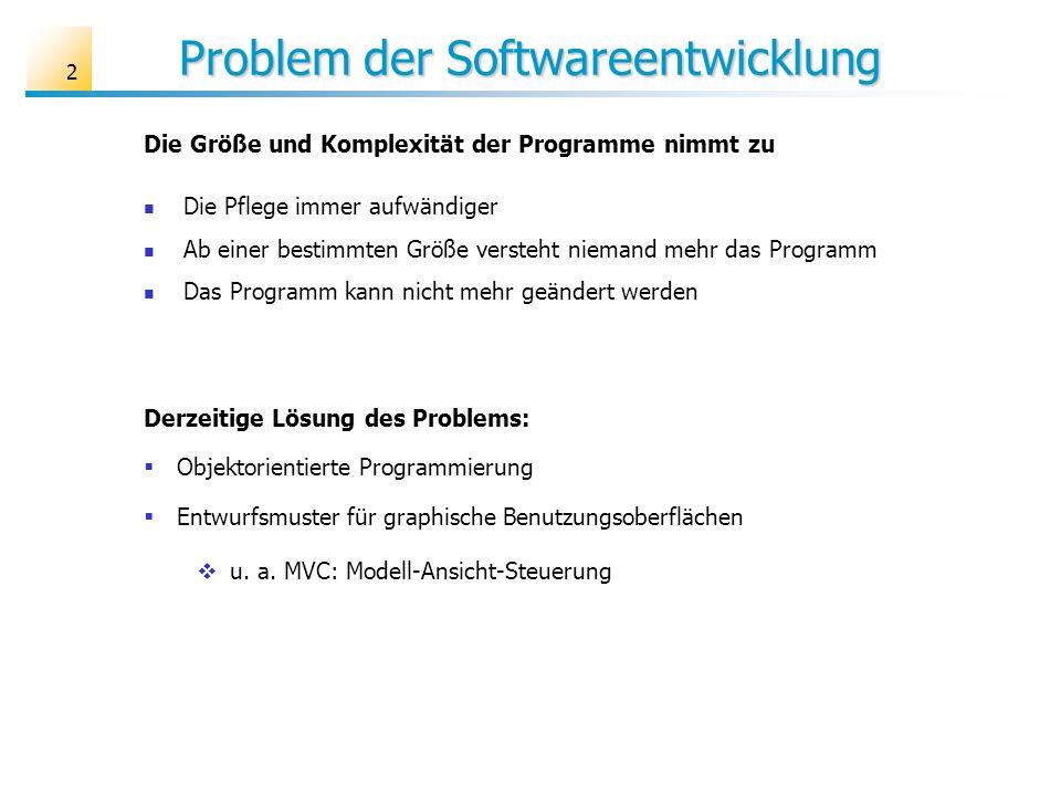 2 Problem der Softwareentwicklung Die Pflege immer aufwändiger Ab einer bestimmten Größe versteht niemand mehr das Programm Das Programm kann nicht me