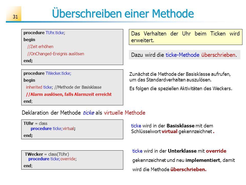 Überschreiben einer Methode 31 procedure TWecker.ticke; begin inherited ticke; //Methode der Basisklasse //Alarm auslösen, falls Alarmzeit erreicht en