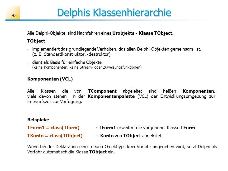 Delphis Klassenhierarchie Alle Delphi-Objekte sind Nachfahren eines Urobjekts - Klasse TObject. TObject implementiert das grundlegende Verhalten, das