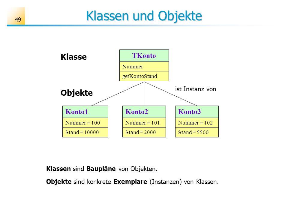 49 Klassen und Objekte Klassen sind Baupläne von Objekten. Objekte sind konkrete Exemplare (Instanzen) von Klassen. Objekte Klasse Konto1 Nummer = 100