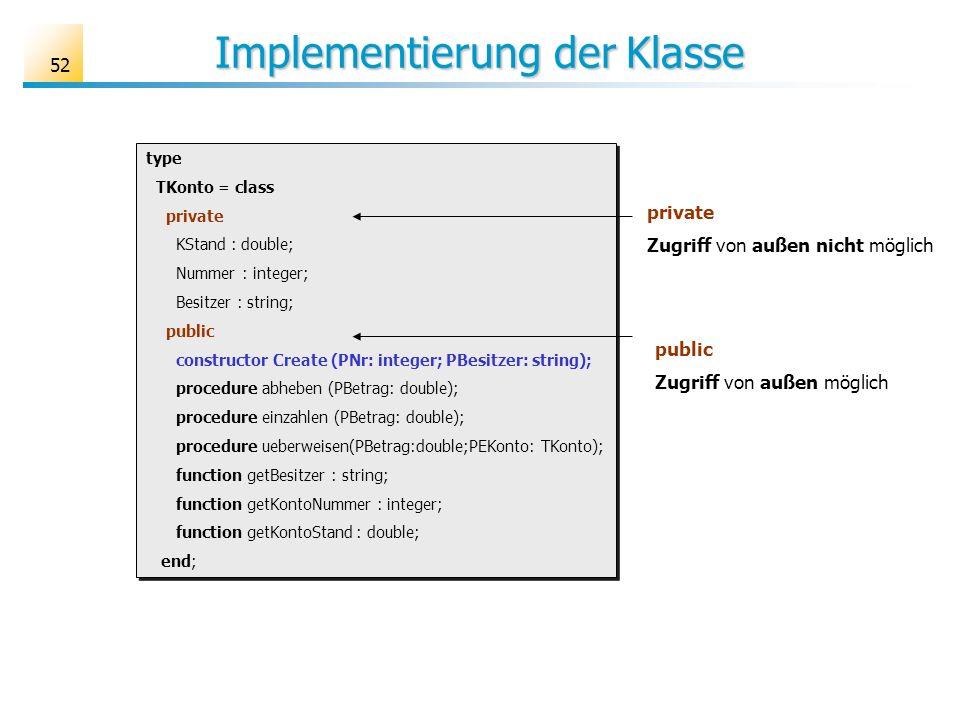 52 Implementierung der Klasse type TKonto = class private KStand : double; Nummer : integer; Besitzer : string; public constructor Create (PNr: intege