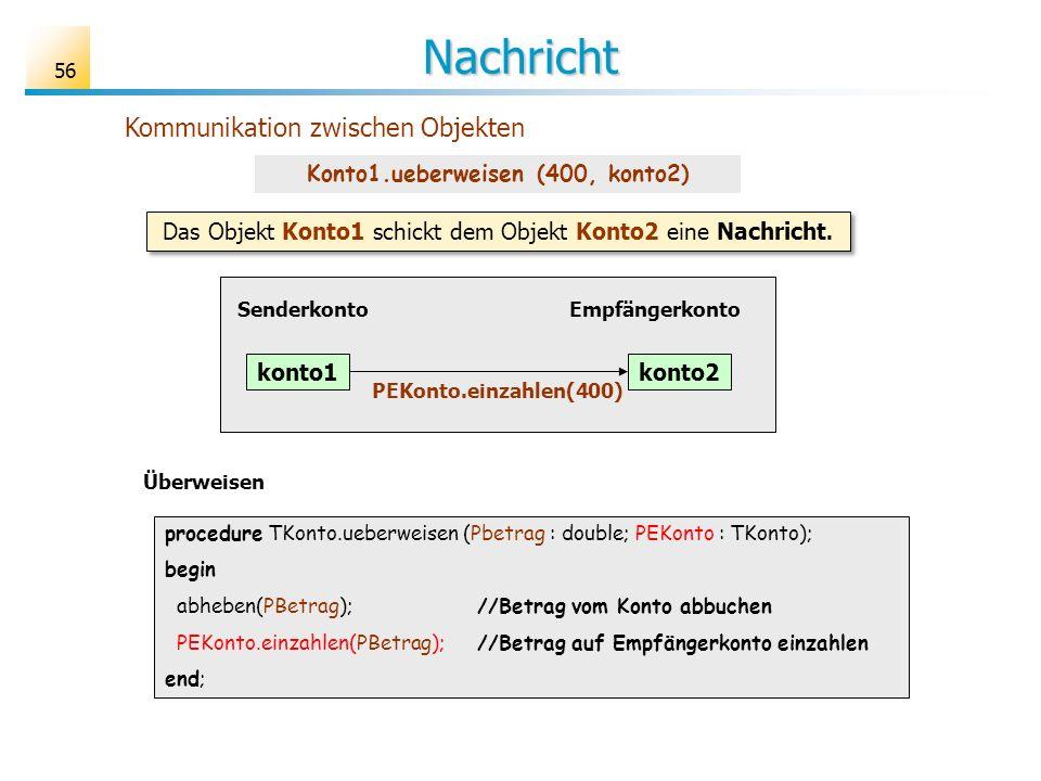 56 Nachricht Kommunikation zwischen Objekten Überweisen procedure TKonto.ueberweisen (Pbetrag : double; PEKonto : TKonto); begin abheben(PBetrag);//Be