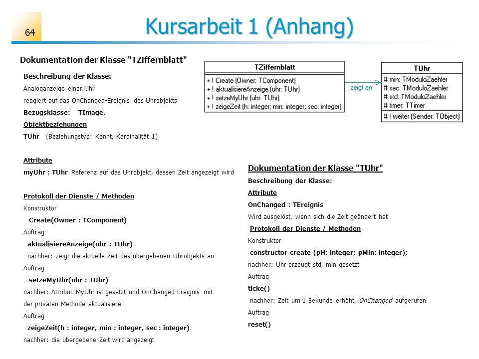 Kursarbeit 1 (Anhang) Kursarbeit 1 (Anhang) 64 Dokumentation der Klasse