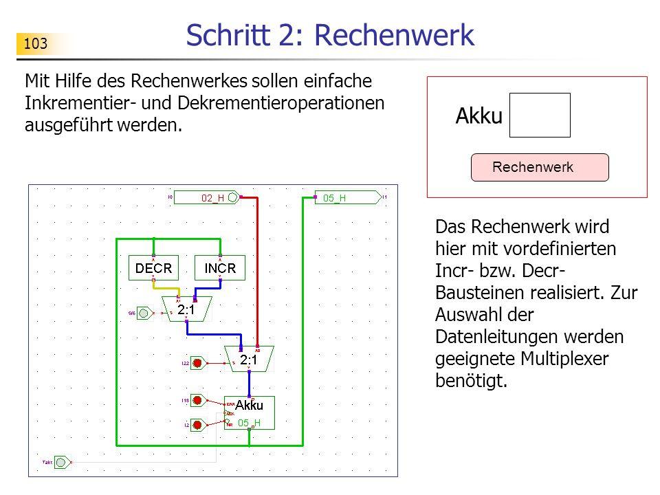 103 Schritt 2: Rechenwerk Mit Hilfe des Rechenwerkes sollen einfache Inkrementier- und Dekrementieroperationen ausgeführt werden.