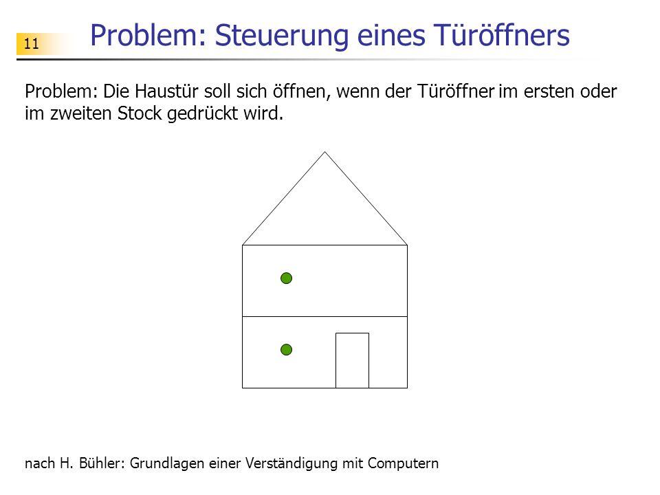 11 Problem: Steuerung eines Türöffners Problem: Die Haustür soll sich öffnen, wenn der Türöffner im ersten oder im zweiten Stock gedrückt wird.