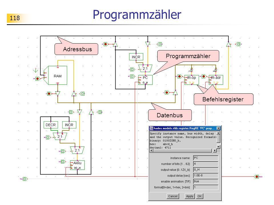 118 Programmzähler Adressbus Datenbus Befehlsregister Programmzähler