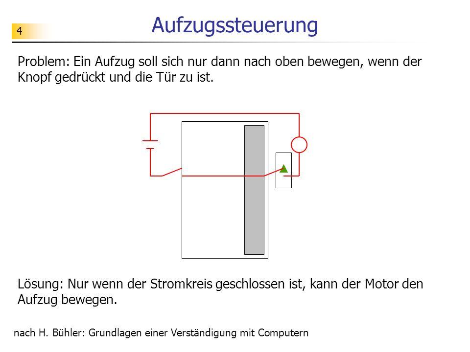 4 Aufzugssteuerung Problem: Ein Aufzug soll sich nur dann nach oben bewegen, wenn der Knopf gedrückt und die Tür zu ist.