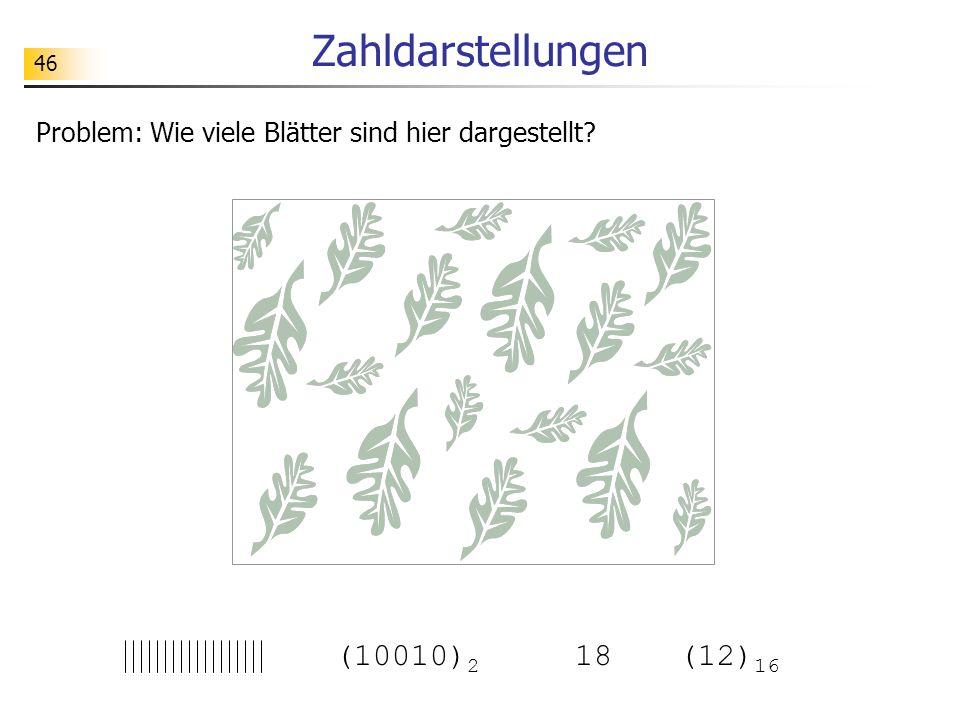 46 Zahldarstellungen Problem: Wie viele Blätter sind hier dargestellt? (10010) 2 18(12) 16